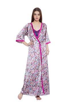 Clovia Pink Floral Print Nighty With Robe