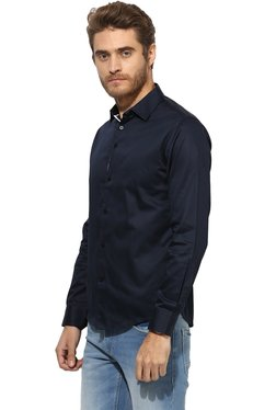 Red Tape Navy Solid Full Sleeves Shirt