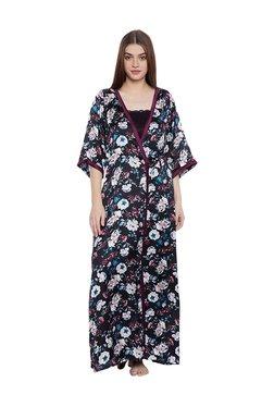 Clovia Black Floral Print Nighty With Robe