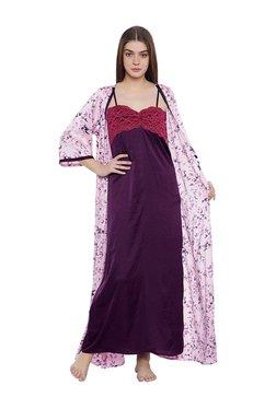 Clovia Purple Floral Print Nighty With Robe