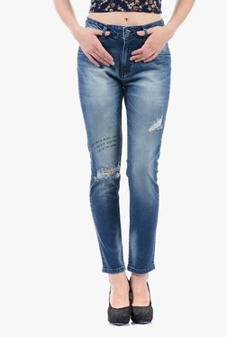 Pepe Jeans Blue Ripped Mid Rise Jeans - Mp000000002378895