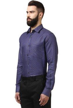 Raymond Dark Blue Contemporary Fit Printed Shirt