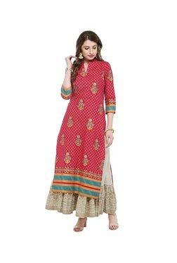 Varanga Pink & Ivory Printed Kurta With Skirt