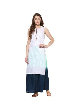 Juniper White & Navy Embroidered Kurta With Long Skirt