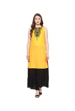 Juniper Yellow & Black Printed Kurta With Long Skirt