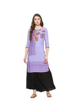 Juniper Purple & Black Floral Kurta With Long Skirt