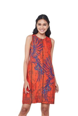 Global Desi Red Printed Shift Dress