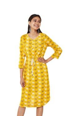 Global Desi Mustard Printed Front Tie-Up Dress