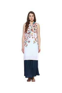 Juniper White & Navy Floral Rayon Kurta With Long Skirt