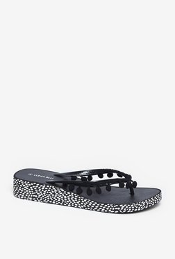 LUNA BLU by Westside Black Pom-Pom Wedge Flip-Flops