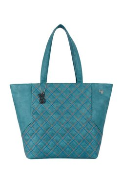 Baggit Tying Teal Blue Quilted Tote