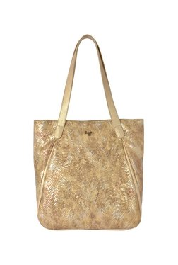 Baggit Scooter Golden Textured Tote