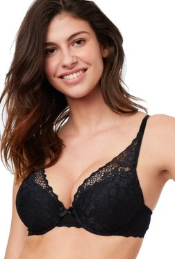 ETAM Paris Black Triangle Under-Wired Padded Plunge Bra 07dd2f5a1