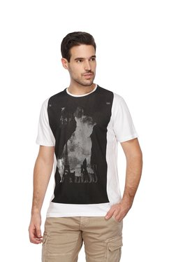 Gas White & Black Slim Fit Crew Neck T-Shirt