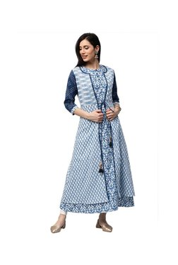 Jaipur Kurti White & Navy Printed Kurta With Shrug