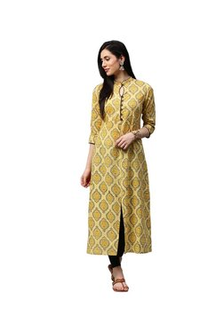 72e8b9bfb Jaipur Kurti Yellow Printed Cotton Kurta