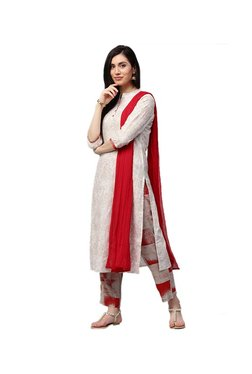 Jaipur Kurti Off White & Red Floral Print Palazzo Set