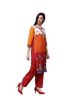 Jaipur Kurti Red Printed Cotton Kurta, Patiala & Dupatta