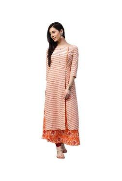 Jaipur Kurti Beige & Red Printed Cotton Kurta