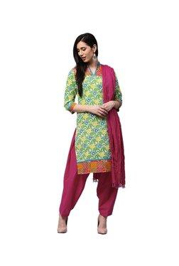 Jaipur Kurti Green & Pink Floral Print Patiala Set