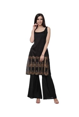 Ziyaa Black Polysilk Kurta, Palazzo With Dupatta