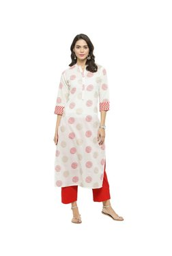 Varanga White & Red Printed Cotton Kurta With Pants