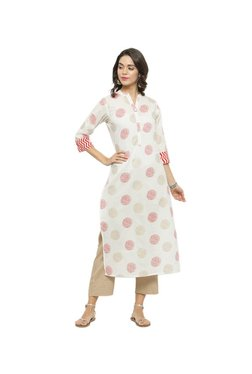 Varanga White & Beige Printed Cotton Kurta With Pants
