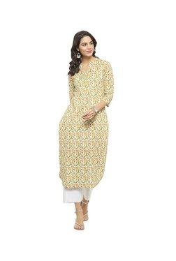 Varanga Yellow Floral Print Cotton Kurta