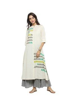 Varanga Off White Printed Cotton Kurta - Mp000000002416307