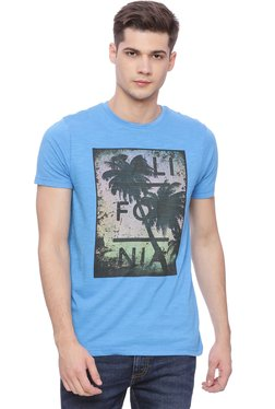 Basics Blue Slim Fit Crew Neck T-Shirt