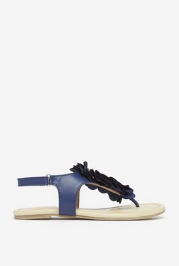 Yellow By Westside Navy Flower Sandals
