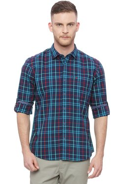 Basics Navy & Blue Slim Fit Cotton Checks Shirt