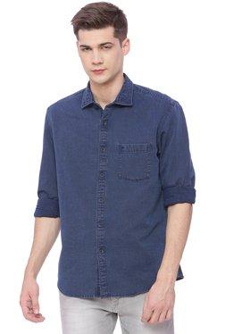 Basics Navy Solid Full Sleeves Shirt