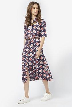 Bombay Paisley By Westside Dark Navy Dress With Belt