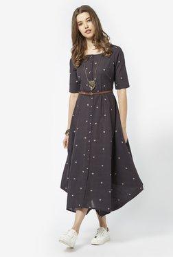 Bombay Paisley By Westside Dark Grey Dress With Belt