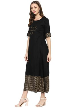 Varanga Black Polka Dots Dress
