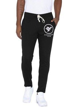 Hubberholme Black Slim Fit Printed Track Pants