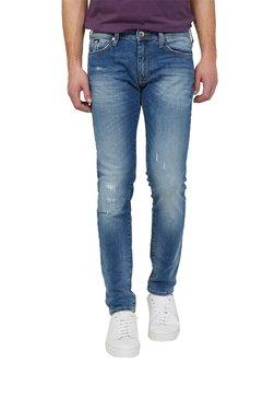Gas Blue Skinny Fit Distressed Jeans SAX ZIP