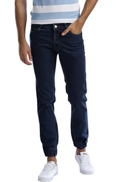 Hubberholme Navy Slim Fit Solid Jogger Jeans