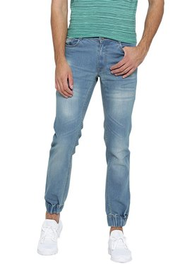 Hubberholme Blue Mid Rise Lightly Washed Jogger Jeans