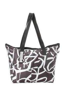 Puma Core Active Black & White Printed Polyester Tote