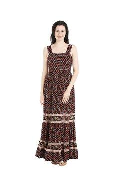 109 F Black Floral Print Dress