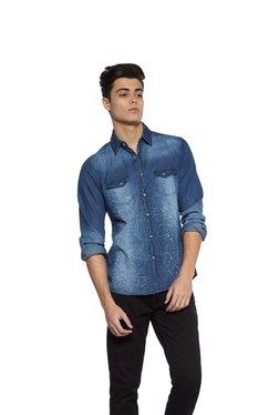 Zudio Indigo Paint Splatter Print Slim Fit Shirt