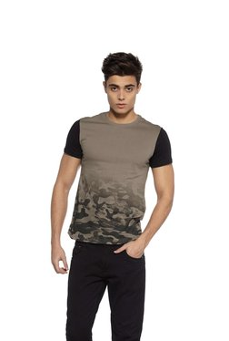 Zudio Green Camouflage Print Slim Fit T-Shirt