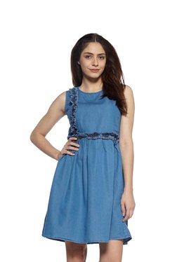 Zudio Blue Fit-and-flare Denim Dress