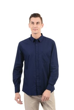 Izod Royal Blue Regular Fit Cotton Solid Shirt