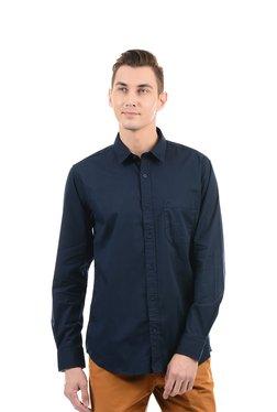 Izod Navy Regular Fit Cotton Solid Shirt