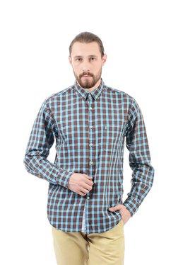 Izod Brown Regular Fit Cotton Shirt