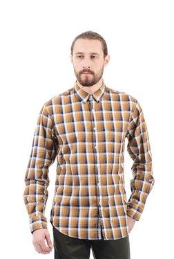 Izod Brown Regular Fit Cotton Checks Fit Shirt