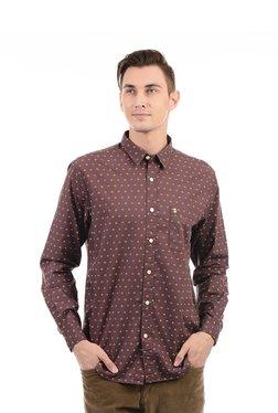 Izod Brown Regular Fit Cotton Printed Shirt